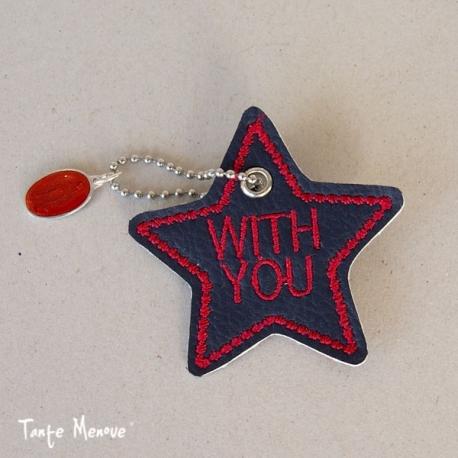 Porte-clés  « Ma bonne étoile » Marine/Rubis
