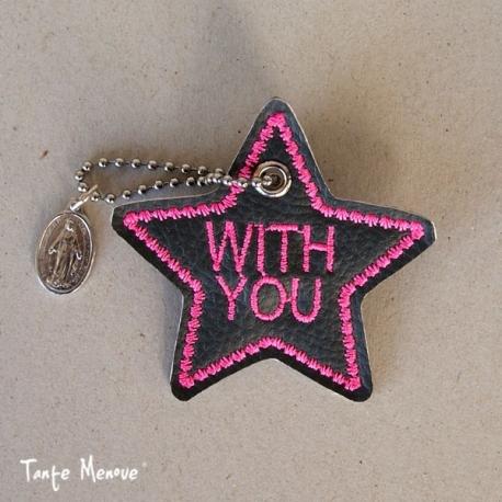 Porte-clés « Ma bonne étoile » Anthracite/Rose Fluo