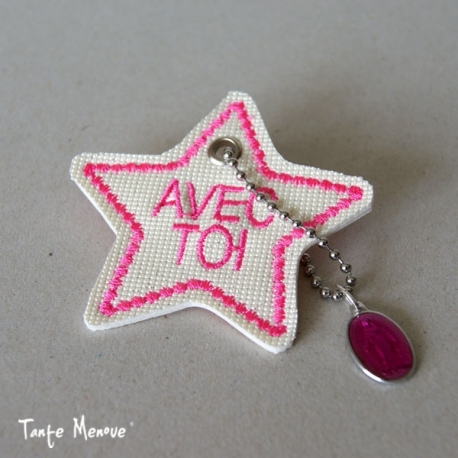 Porte-clés  « Ma bonne étoile » Blanc Pailleté / Rose