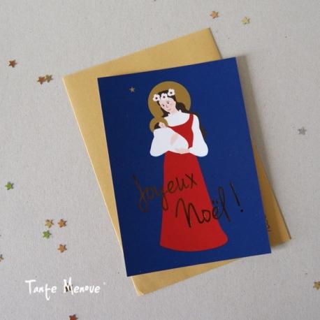 "Carte de vœux  ""Joyeux Noël !"" dorée"
