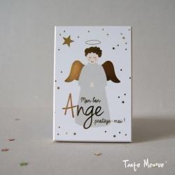 """Carte de prière  """"Ange gardien doré"""""""