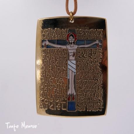 """Plaque murale émaillée """"Notre Père"""" en bronze"""