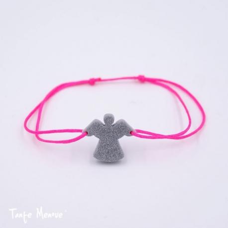 Bracelet Ange Gardien ( gris pailleté et rose fluo )