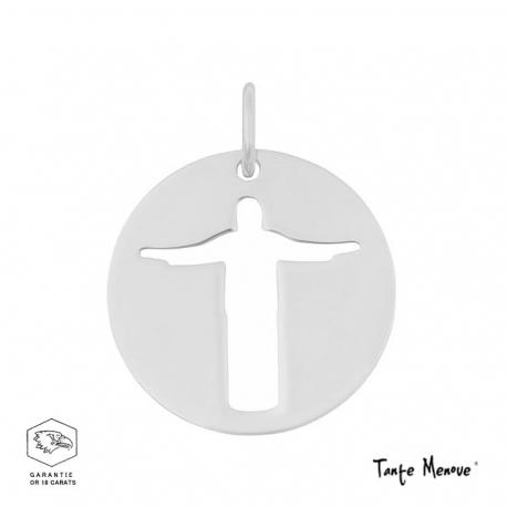 Médaille mini Christ de Rio en or blanc