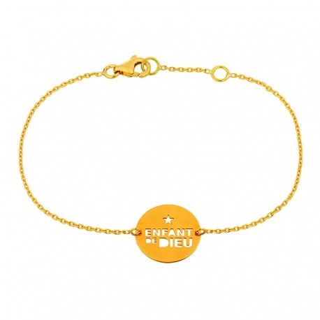 "Bracelet Message ""Enfant de Dieu"" en or"
