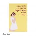 Image « Dans le secret de mon coeur » jaune   (Personnalisable)