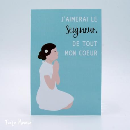 """Image Color """"J'aimerai le Seigneur"""" fille (Personnalisable)"""