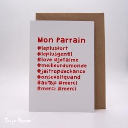 """Carte postale hashtag """"Parrain"""""""