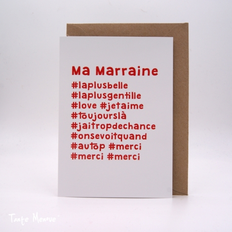 "Carte postale hashtag ""Marraine"""
