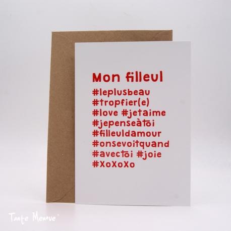 """Carte postale hashtag """"Filleul"""""""
