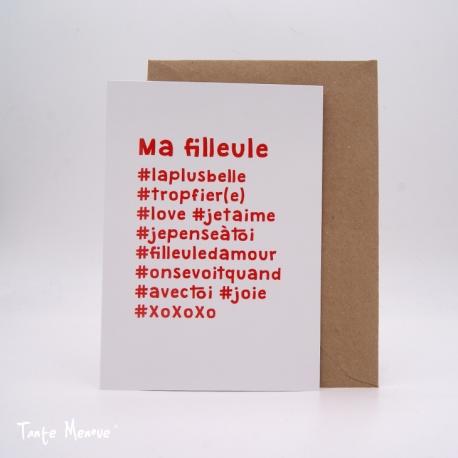 """Carte postale hashtag """"Filleule"""""""
