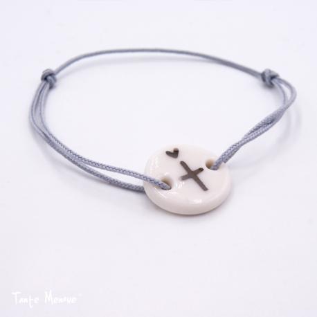 Bracelet de Porcelaine Blanc et Platine