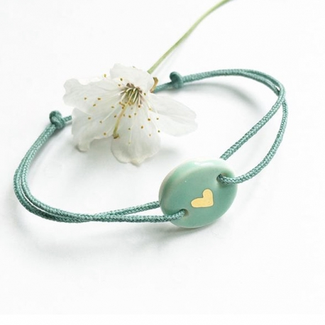 Bracelet de Porcelaine Mint et Or