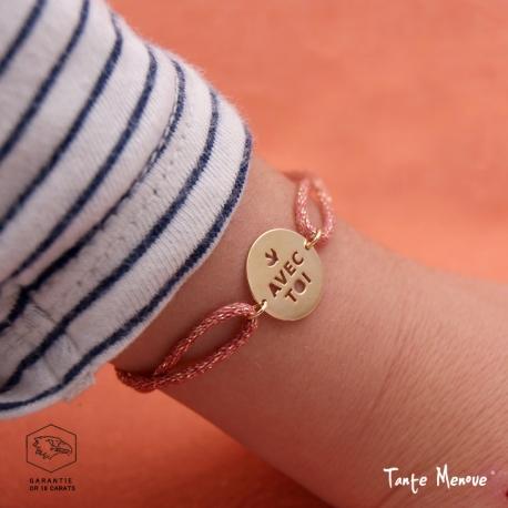 """Bracelet Message """"Avec  toi"""" en or sur cordon"""
