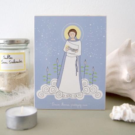 Icône (grand modèle) Vierge de douceur bleue