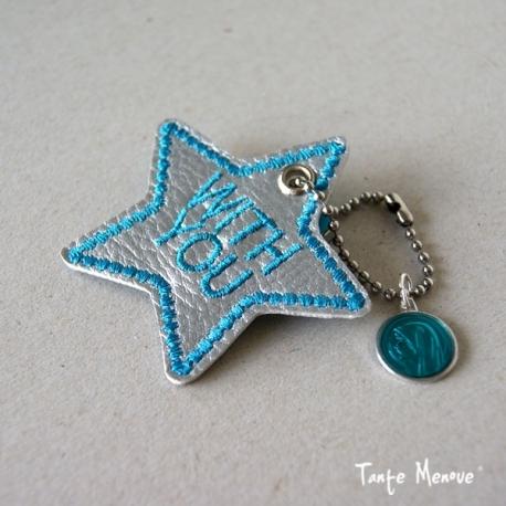 Porte-clés « Ma bonne étoile » Argent / Turquoise